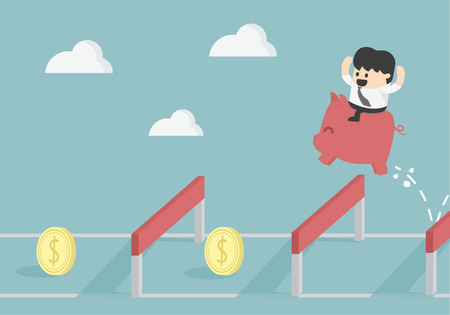 financial obstacle: Businessman Jumping Over Hurdle To financial success