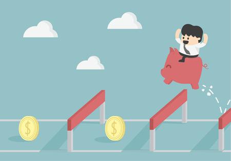 financial success: Gesch�ftsmann Sprung �ber H�rde um finanziellen Erfolg Illustration