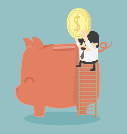 Geschäftsmann Geld sparen
