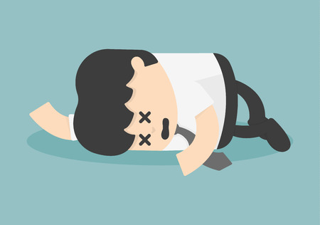 Exhausted and tired businessman sleeping Stock Illustratie