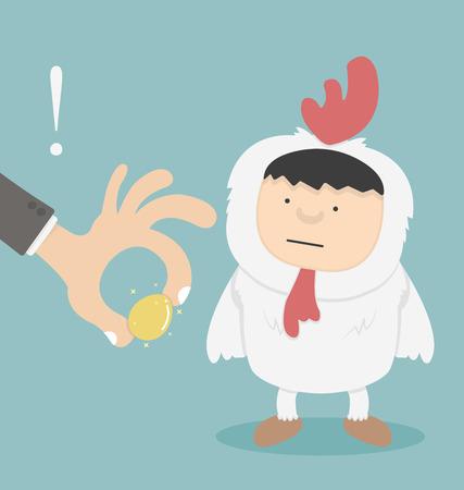 stealing: Businessman stealing golden eggs Illustration