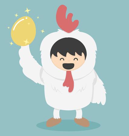 anecdote: Chicken white and golden egg Illustration