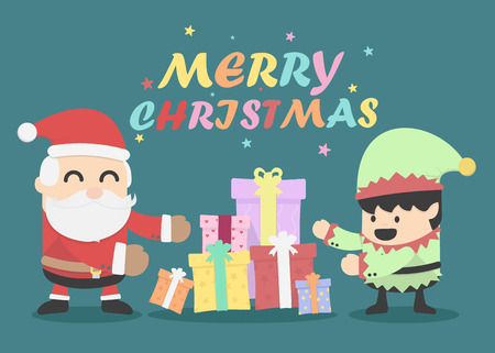Christmas card with Santa Claus and Elves Vector