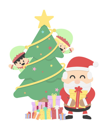 Christmas background with Santa claus and Christmas elf Vector