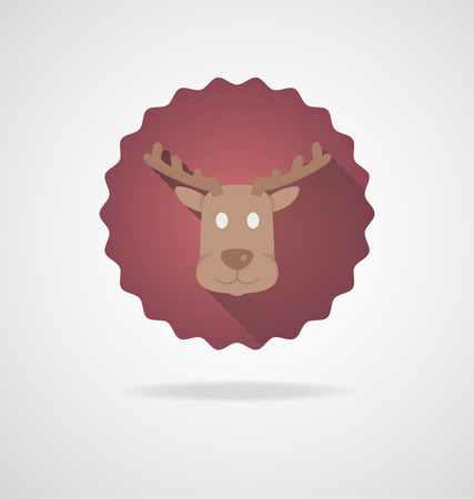 santa moose: Deer Head Icon on white Background Illustration