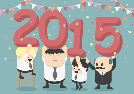 new year party: businessman happy new year party Illustration