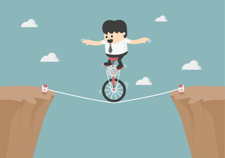 rope walker: Business balancing on the rope Illustration