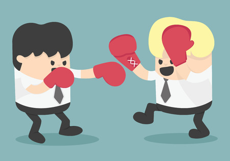 boxing match: businessman fighting Illustration