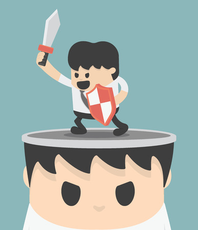 fighting: Businessman concept idea of fighting