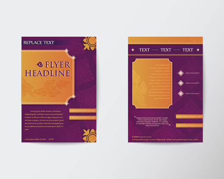 thai style: Abstract Brochure Flyer Thai style template in A4 size Illustration