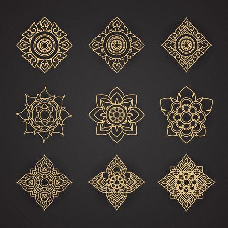 Vector set van Thaise art design