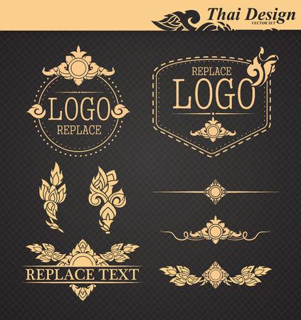 conjunto de vectores: elementos de diseño de arte tailandés Vectores