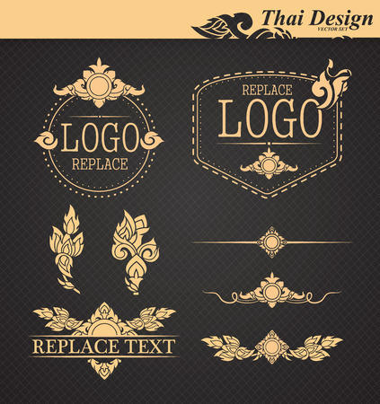 thai style: vector set: thai art design elements