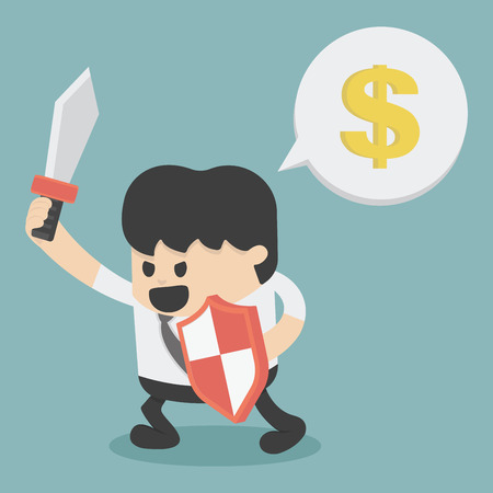 sword fight: Businessman in attacking holding a sword and shield Illustration