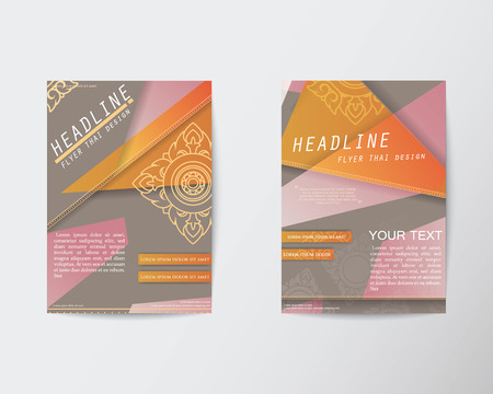 thai style: Abstract Triangle design Thai style Brochure Flyer in A4 size
