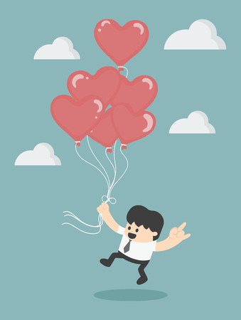 red balloons: Holding Red heart balloons