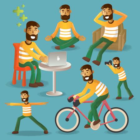 Lifestyle-Konzept Alltag Zeichensatz Vektor-Illustration