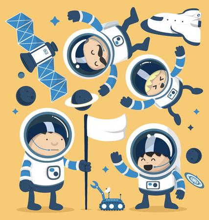 astronaut: Astronautas juego de caracteres en Robots espaciales y naves espaciales, Planets.Vector ilustraci�n