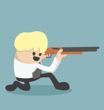 Business is holding a gun to be fired Vector