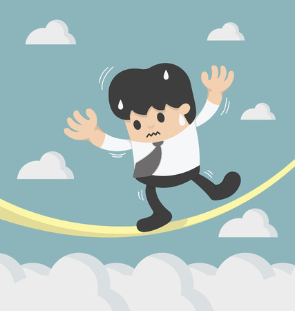 tightrope: Concept of a business danger