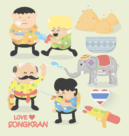water gun: Songkran festival Illustration