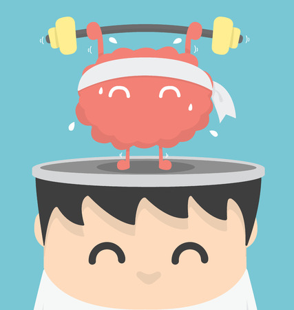 sport training: Businessman exercising  brain Illustration