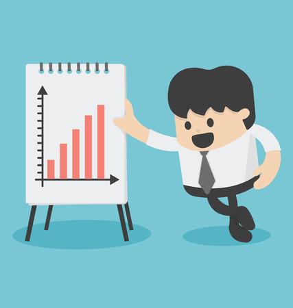Geschäftsmann-Darstellen Growth Chart Illustration