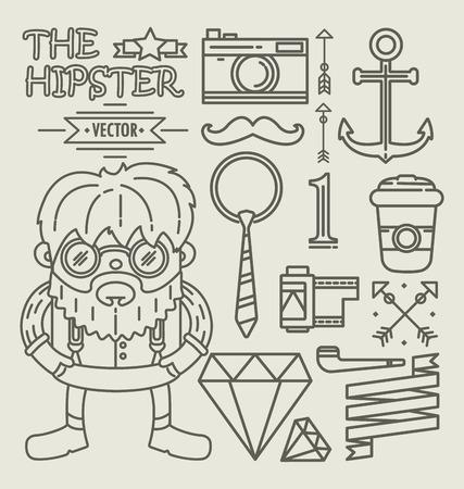 character design: Hipster character design . Linear Illustration