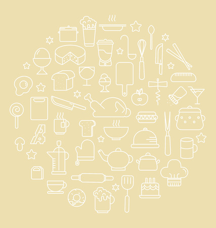 Kitchen and Food Outline icons  Vector illustration