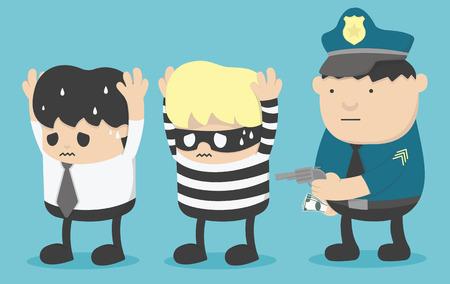 bestechung: Konzept-Business-Mann, der Freunde mit Dieben und Polizei verhaftete ist