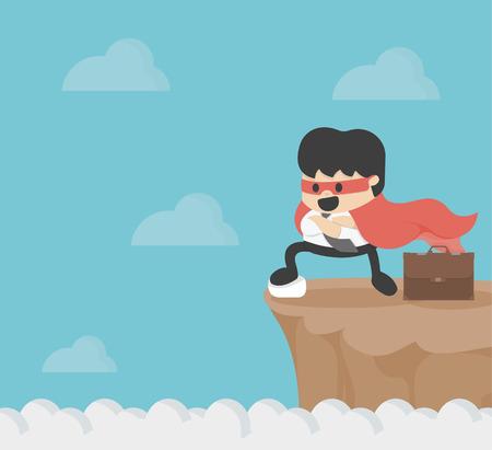 cliff edge: Super businessman on precipice