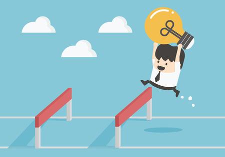 Homme d'affaires sautant par-dessus Hurdle