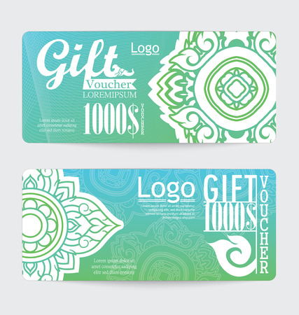 yellow design element: gift voucher with line Thai design