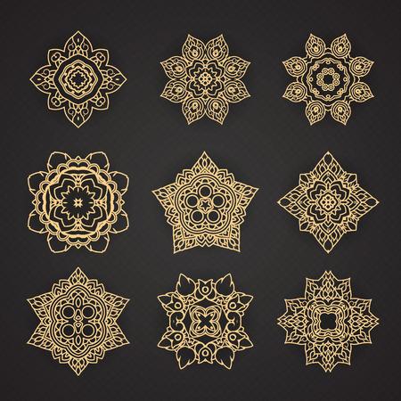 태국 예술 패턴 디자인 벡터 설정 일러스트