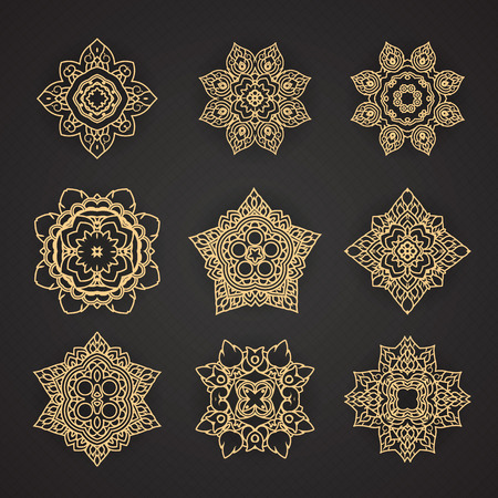 Thai art pattern design Vector set Иллюстрация