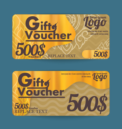 line thai: Gift certificate voucher template with line thai art design