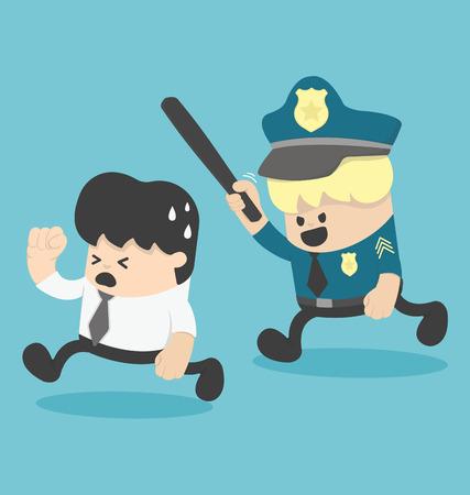 Concept businessman running away, police Illustration