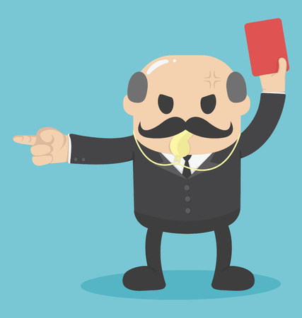 soccer referees hand with red card: concept the big boss raised red card for out work