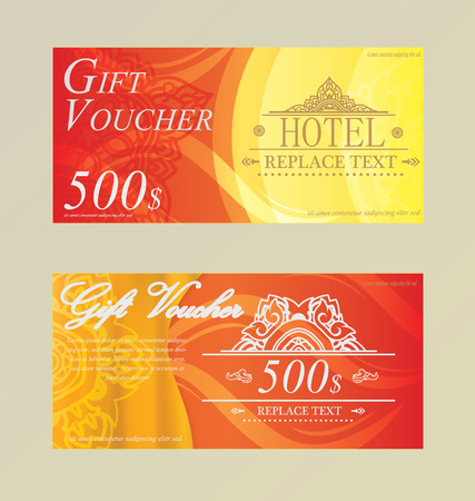 bank notes: Gift certificate voucher coupon card Hotel,Restaurant  thai Illustration