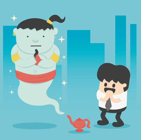 genio de la lampara: Hombre de negocios con el gigante de la lámpara mágica Vectores
