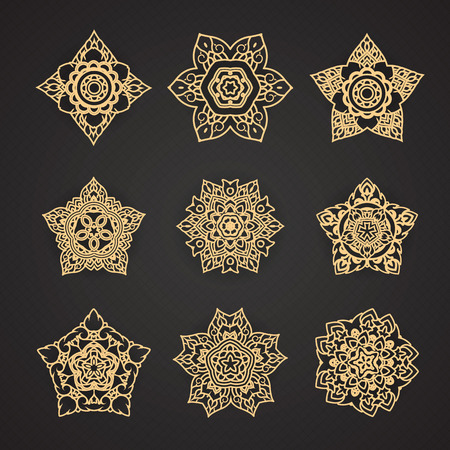 Ligne Thai Motif Vector set Illustration