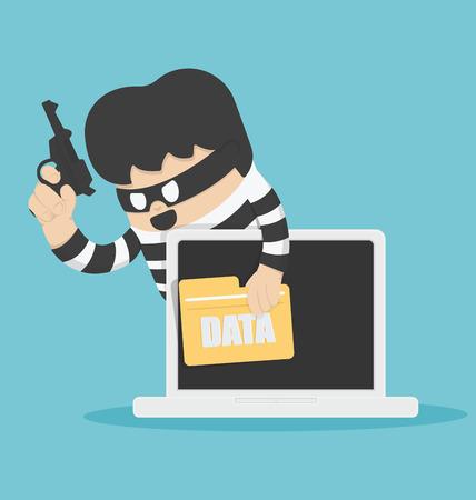 コンピューターのデータを盗んだ泥棒  イラスト・ベクター素材
