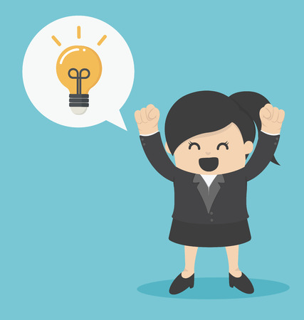 good idea: Business Woman get the idea happy Illustration