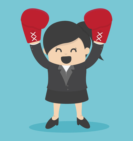 woman business suit: Business Woman in a suit and boxing gloves