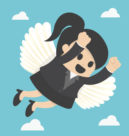 business flying: Business Woman flying freedom