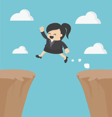 cliff jumping: Business Woman jumping over the cliff
