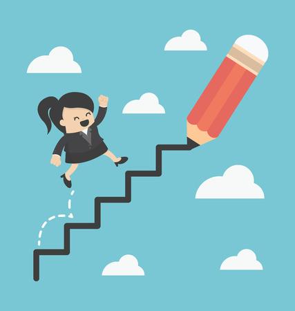 Mujer de negocios subiendo la escalera del éxito