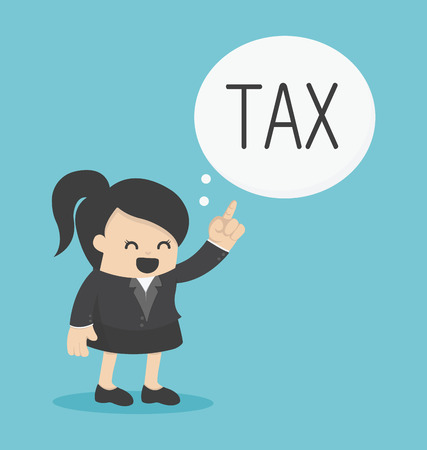 woman holding money: Business Woman pointing tax Illustration