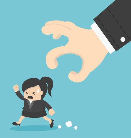 run away: business Woman run away hand