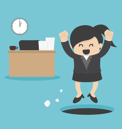 sneak: business Woman  sneak out job Illustration